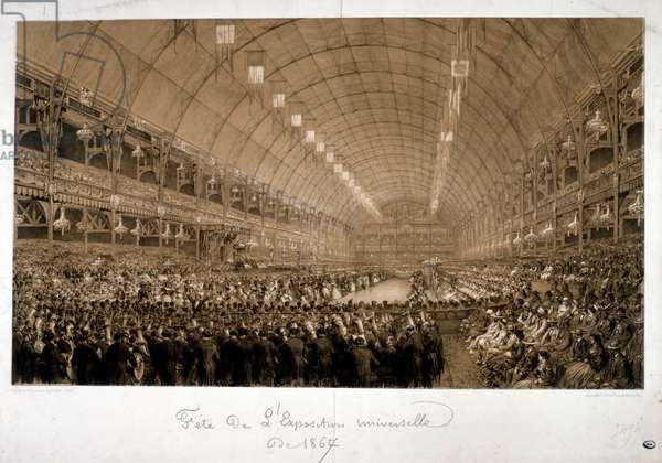 Illustration depicting the International Exposition of 1867 (Exposition Universelle d'art et l'Industrie), was the second world's fair to be held in Paris, from 1 April to 3 November 1867. Forty two nations were represented at the fair. Following a decree of Emperor Napoleon III, the exposition was prepared as early as 1864, in the midst of the renovation of Paris, marking the culmination of the Second French Empire.