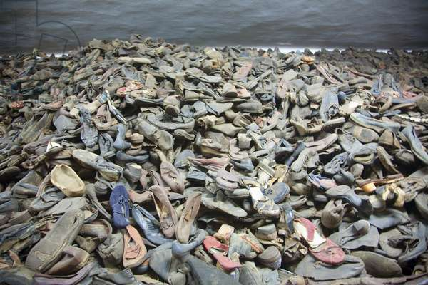 Pile of Shoes Belonging to People Murdered at the Auschwitz Concentration Camp, Oswiecim, Malopolska, Poland (photo)