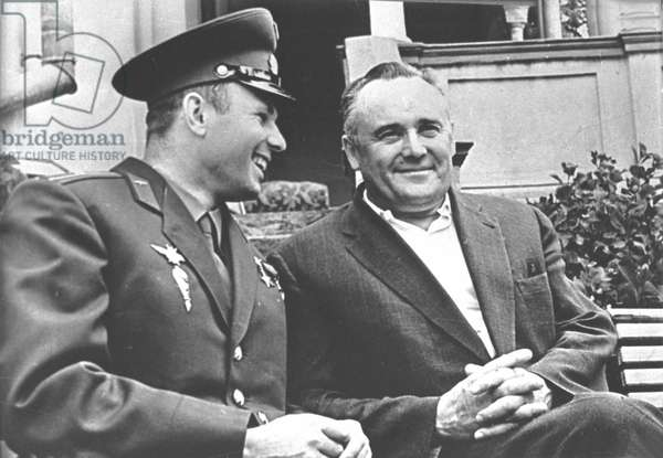 Yuri Gagarin With Sergei Korolyov In Moscow