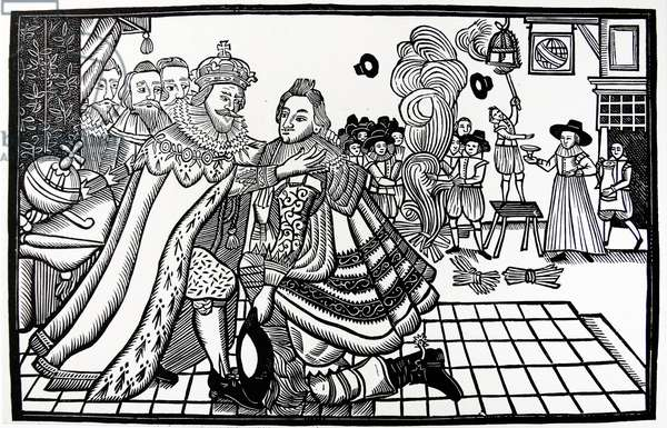 Prince Charles (Charles I) welcomed home from Spain by his father James I (1623) Woodcut from a contemporary broadside