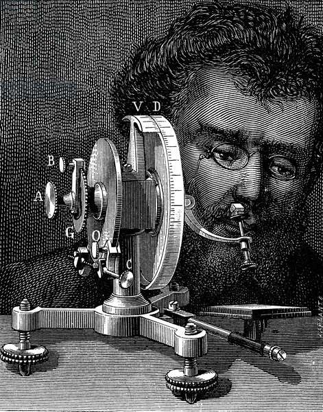 Wollaston's reflecting goniometer for measuring the angles of crystals. William Hyde Wollaston (1766-1828)Wood engraving 1874.