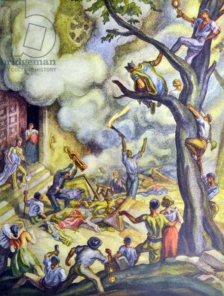 Spanish civil war: Burning Convents ( drawing Carlos Saenz de Tejada ) .