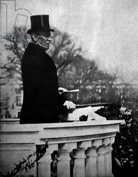 President Woodrow Wilson  addresses the crowd