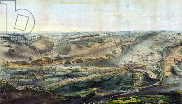 Bird's-eye view of Gettysburg battlefield, 1863