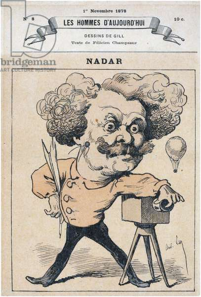 French caricature of photographer and balloonist Nadar