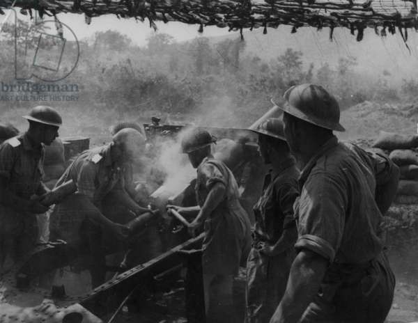 An Artillery Crew at Cassino, 1942 (b/w photo)