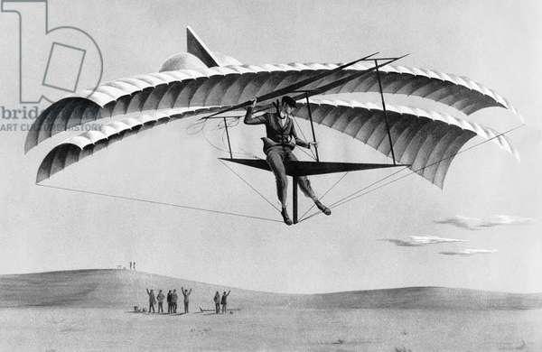 Man Gliding In 1883, Santa Clara, California, 1883 (b/w photo)