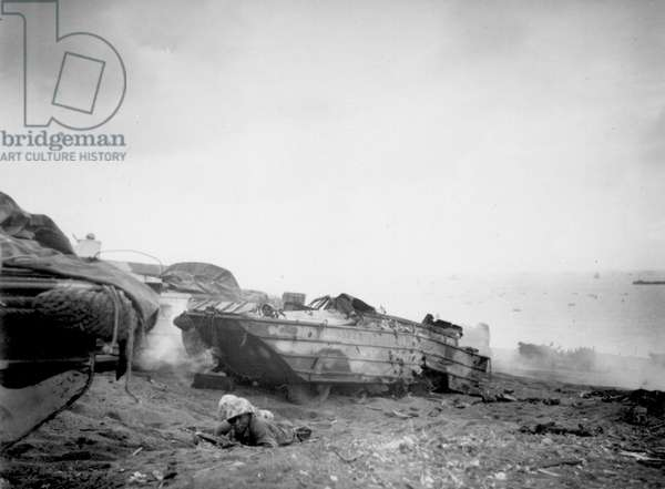 DUKW Drivers Join the Fight on the Iwo Beach (b/w photo)