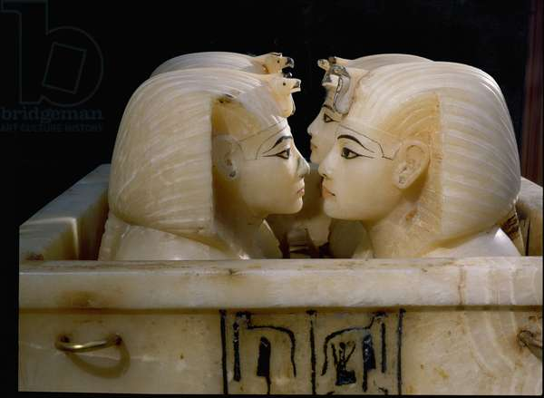 Tomb of Tutankhamun. Canopic chest with lid removed, 18th dynasty c.1357-1349 BC (alabaster)