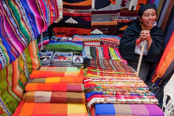 Andean Textiles For Sale at the Saturday Crafts Market, Otavalo, Imbabura, Ecuador (photo)