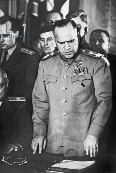 Marshall Zhukov Attends The Signing Of Unconditional Surrender By Germany In Berlin