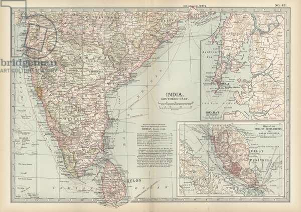 Map of southern India with Bombay