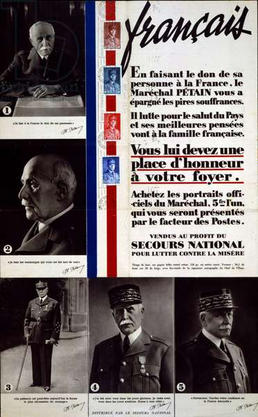 French world war two poster appealing for citizens to raise funds by buying portraits of Marshall Philippe Petain the Vichy French Leader.