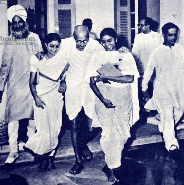 An emaciated Mahatma Gandhi