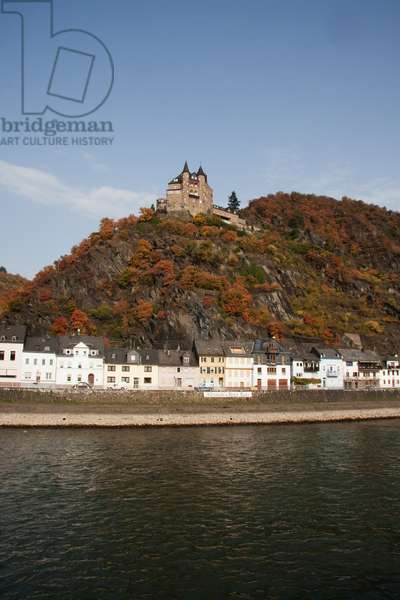 Katz Castle Above Sankt Goarshausen, as seen from the Rhine River, Rhineland-Palatinate, Germany (photo)