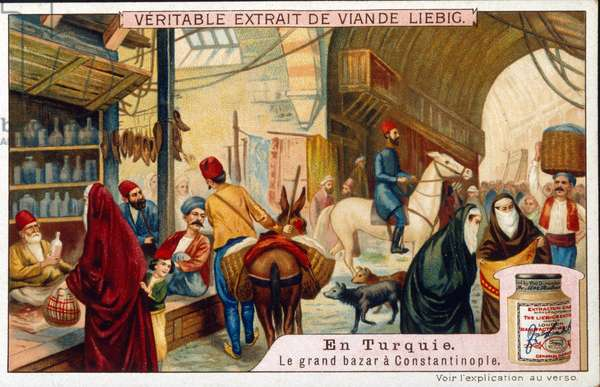 Leibig card showing a scene in the Grand Bazaar of Istanbul