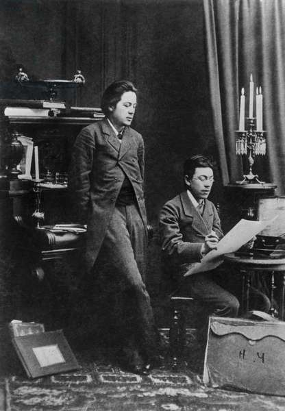 Anton Chekhov And Nikolai Chekhov In Moscow : Anton Chekhov and Nikolai Chekhov in Moscow, Russia, 20/10/1883 ©ITAR-TASS/UIG/Leemage