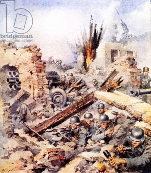 Second World War-Italian Campaign Montecassino-1944 The Battle for Cassino on an illustration of the newspaper La Domenica del Corriere April 2, 1944