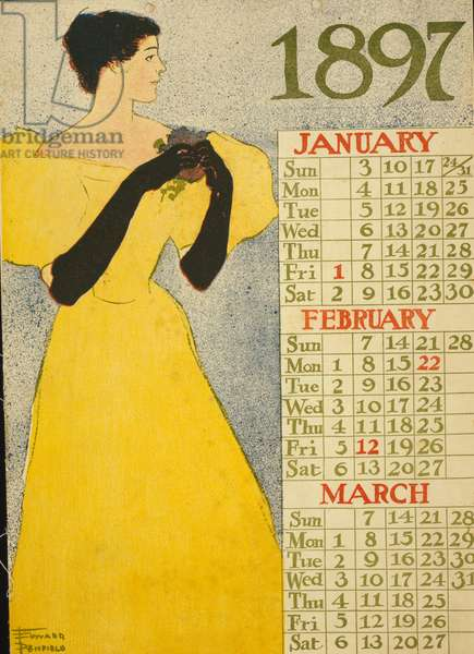 1897 calendar for the months of January, February and March by Edward Penfield