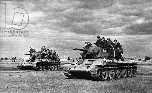 Battle of Stalingrad, a Soviet Tank Unit Advancing on Stalingrad.