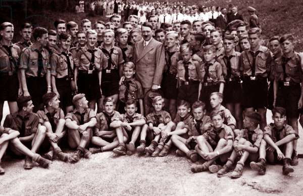 Adolf Hitler with Nazi party Hitler Youth, 1935