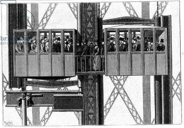 Elevators (lifts) by Leon Edoux for carrying passengers to the second and third levels of the Eiffel Tower. Engraving, Paris, 1889