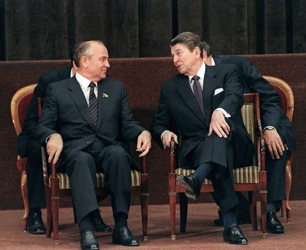 President Ronald Reagan and Mikhail Gorbachev
