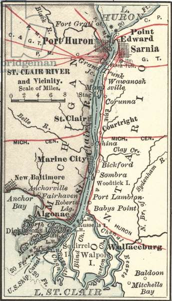 Map of Saint Clair River and Port Huron
