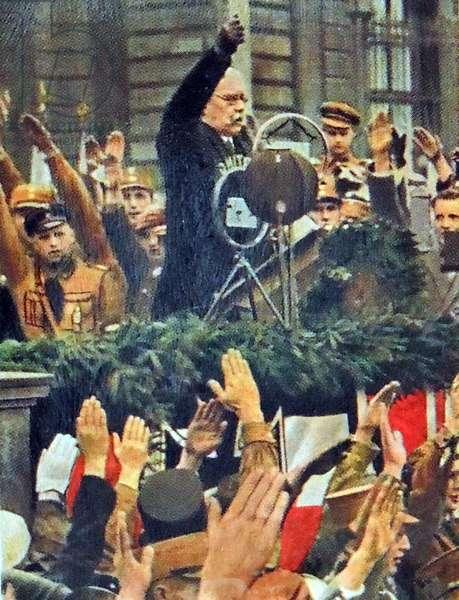 President Paul Von Hindenburg on rally in Berlin,1933