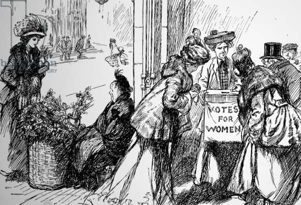 Collecting funds for votes for women at the expense of working women, 1908