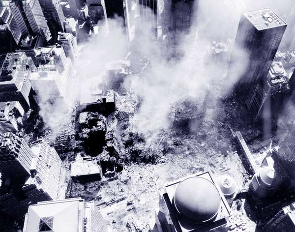 An aerial view after the 9/11 attacks on the World Trade Centre Site, 2001