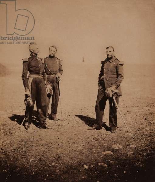 French Generals Labousiniere and Beuret standing with Third Officer, Crimean War, Crimea, Ukraine, 1855 (b/w photo)