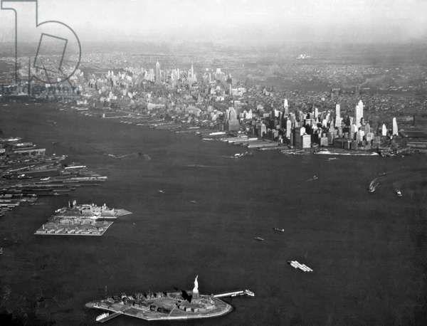 Aerial View Of New York City (b/w photo)