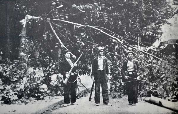 Republican fighters wait next to a fallen tree in Barcelona during fighting in the Spanish civil war 1936