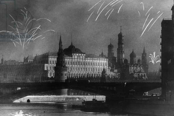Fireworks over the Kremlin in Moscow in Celebration of the Liberation of Soviet Land from the Germans During World War 2, 1944.