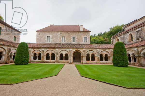 Cloister Garden of the Cistercian Abbey of Fontenay, Cote D'or, France (photo)