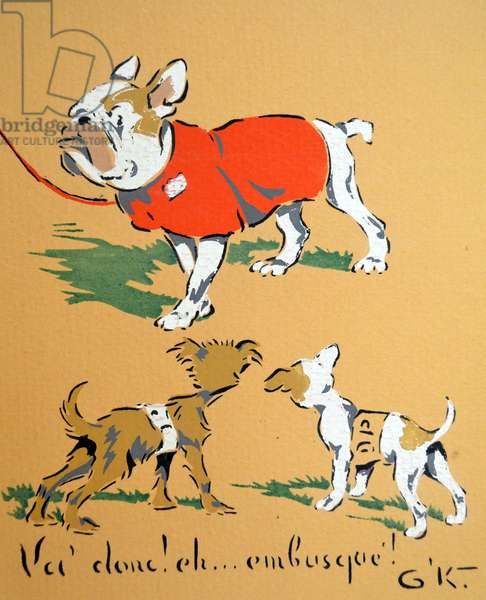 World War Two: French war postcard depicting three dogs