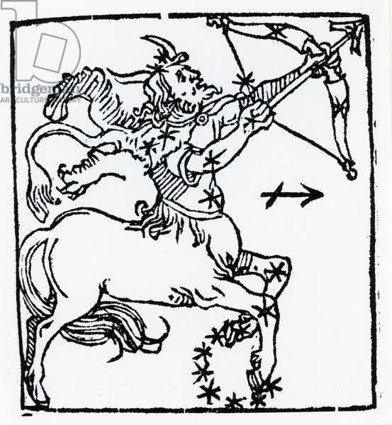 Zodiac sign of Sagittarius. From ''Sphaera mundi'', Strasburg, 1539