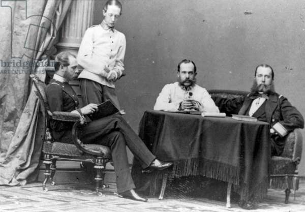 Archduke Ferdinand Maximilian (1832-1867), seated far right, and three other men, in Vienna. Maximilian I, Emperor of Mexico (1864-1867), Second Mexican Empire.  Executed  in 1867 after capture by Republicans. Regicide