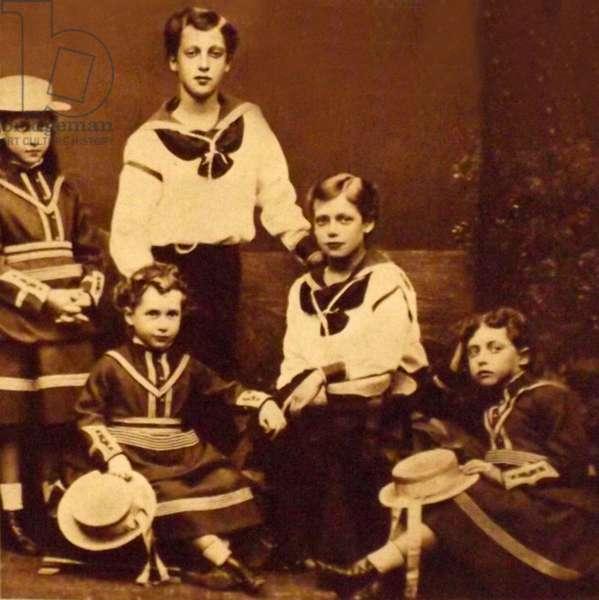 King Edward VII, Prince George, the princess Royal Louise and Princess Maud