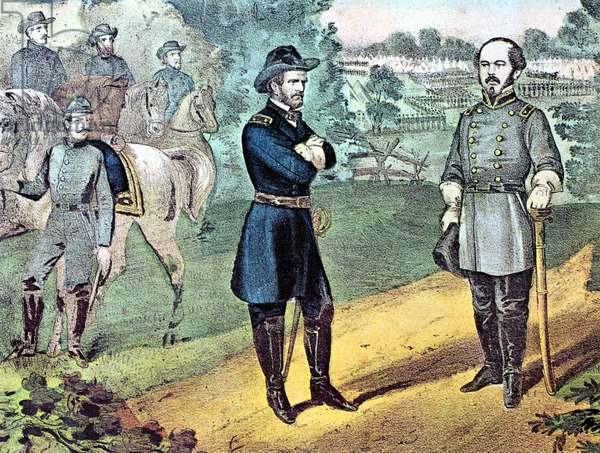 American Civil War 1861-1865: William Tecumseh Sherman (1820-1891) left, Unionist (northern) general, meeting General Joseph E Johnston to discuss terms of surrender of Confederate (southern) forces in North Carolina. After Currier & Ives lithograph.