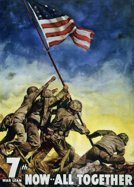 US Marines raising flag at Iwo Jima, Japan