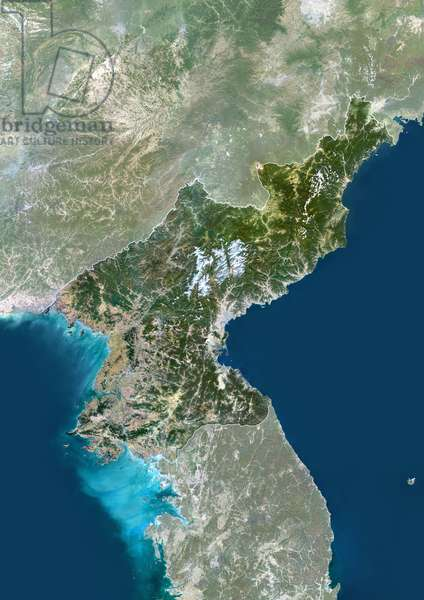 North Korea, Asia, True Colour Satellite Image With Border And Mask. Satellite view of North Korea (with border and mask). This image was compiled from data acquired by LANDSAT 5 & 7 satellites ©Planet Observer/UIG/Leemage