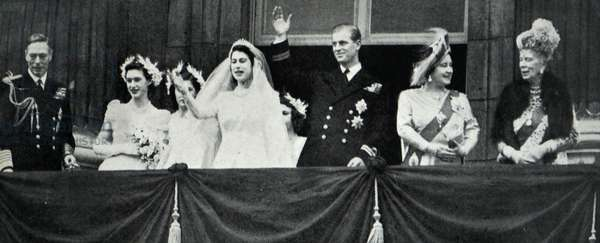 Queen Elizabeth The Queen Mother, King George VI with the newly wed Princess Elizabeth and Prince Philip