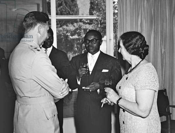 Maurice Yaméogo meeting with Golda Meir, 1961 (b/w photo)