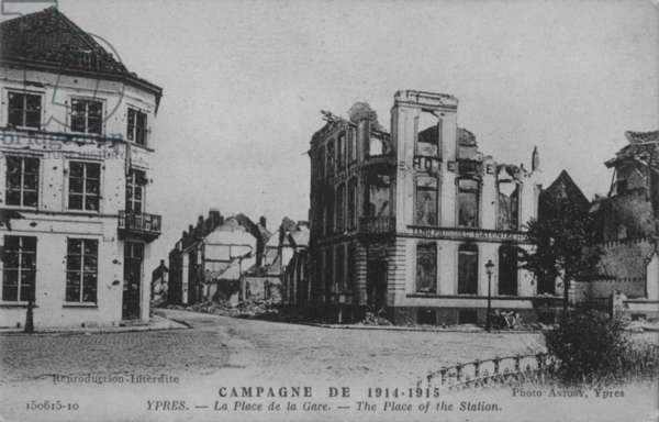 The Place of the Station at Champagne, 1916 (b/w photo)