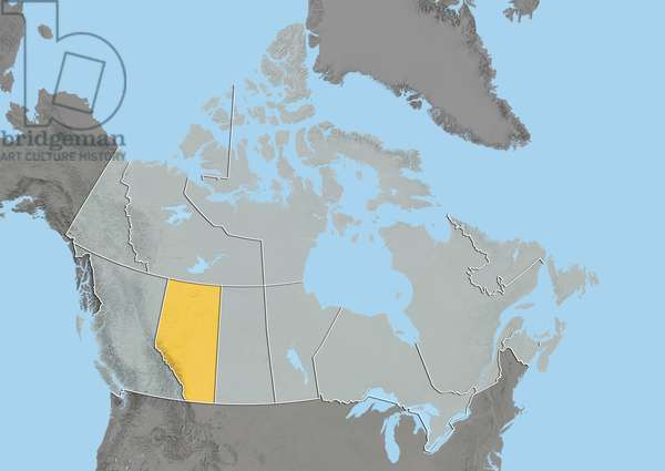 Province of Alberta, Canada, Relief Map