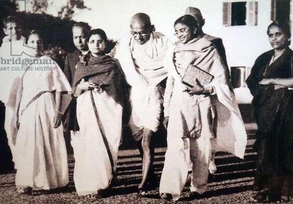 Mohandas Karamchand Gandhi at his last public gathering on 30 January 1948, India