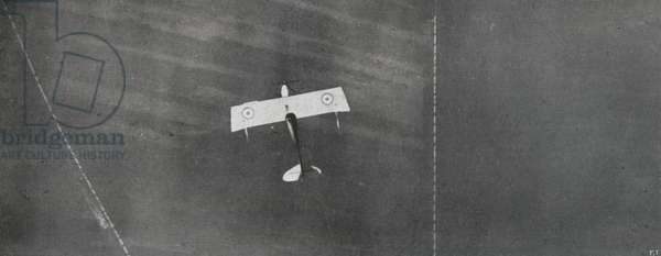 WWI 9 August 1918-Flying over Wien, The aircraft commander, which stands for the two pennants on the sides of the fuselage, photographed by another aircraft higher