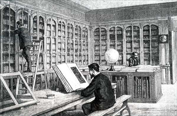 Louis Pasteur studying in the library of ecole Normale Superieure